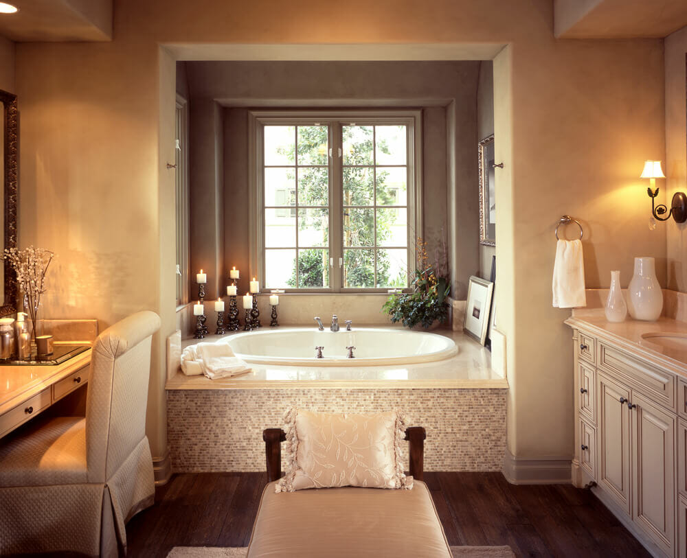 Luxury bathroom layout - Creme And Warm Tones Go So Well Together And Give You A Feeling Of A Day