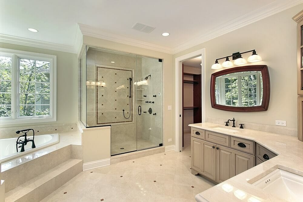A large shower with lots of options along with the built in tub and marble surround makes this a favorite.