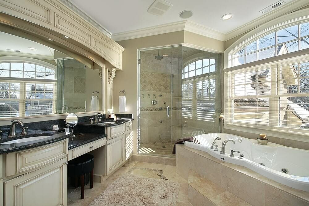 This Amazing Design With Bath Tub And A Standing Shower Maximizes The Size Of Room