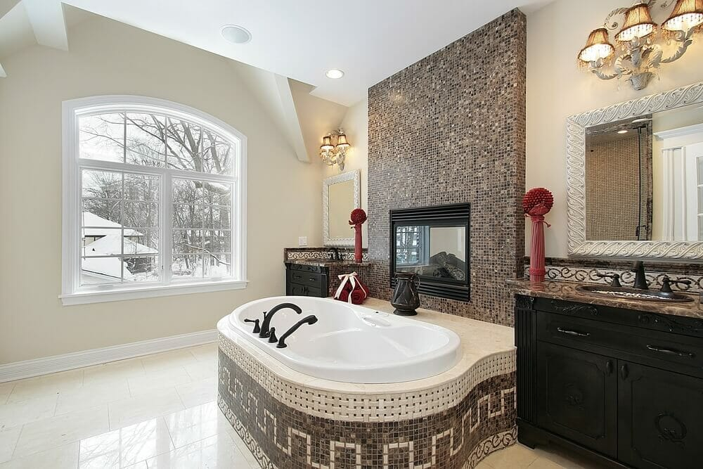 Loving the tile job and the utilization of the fireplace makes this bathroom a winner in our book.