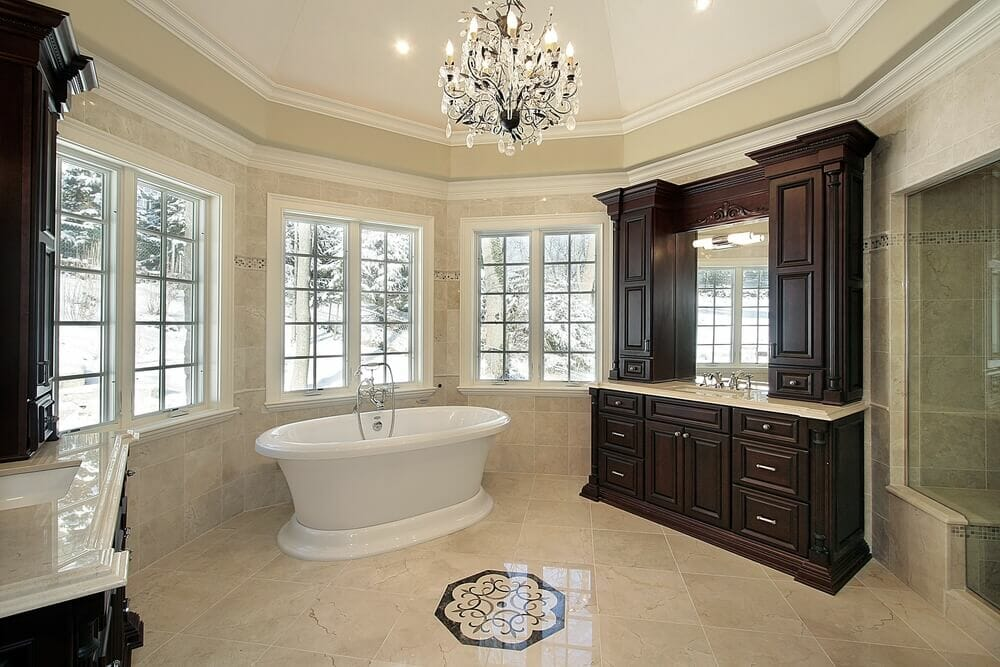 sometimes its all about the chandelier with a beautiful vaulted ceiling its hard to image - Luxury Master Bathroom Suites