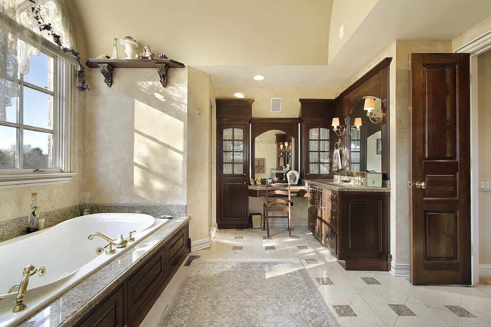 Bon Elegance Is What The Right Word For This Bathroom. The Cabinets And Doors  Matching Can