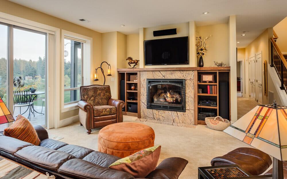 stone corner fireplace