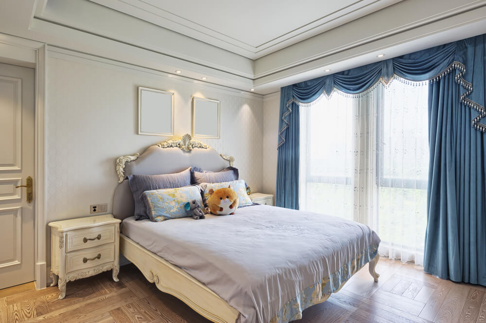 Adorable Blue And White Victorian Decorated Room Is Simple Beautiful Light Wood Flooring With Lightly Patterned Wall Paper Ornate Bed Frame