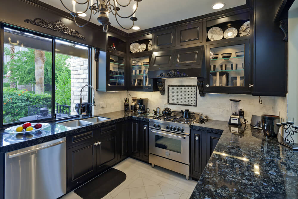 46 kitchens with dark cabinets black kitchen pictures for Dark cabinet kitchen ideas