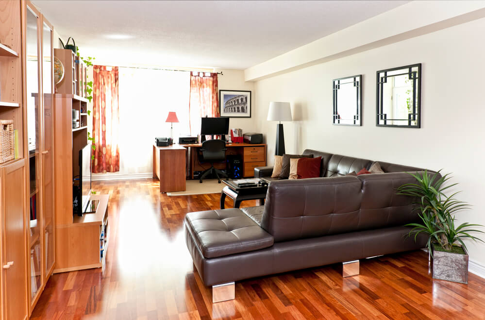 Living room with hardwood floor - artwork is from photographer portfolio