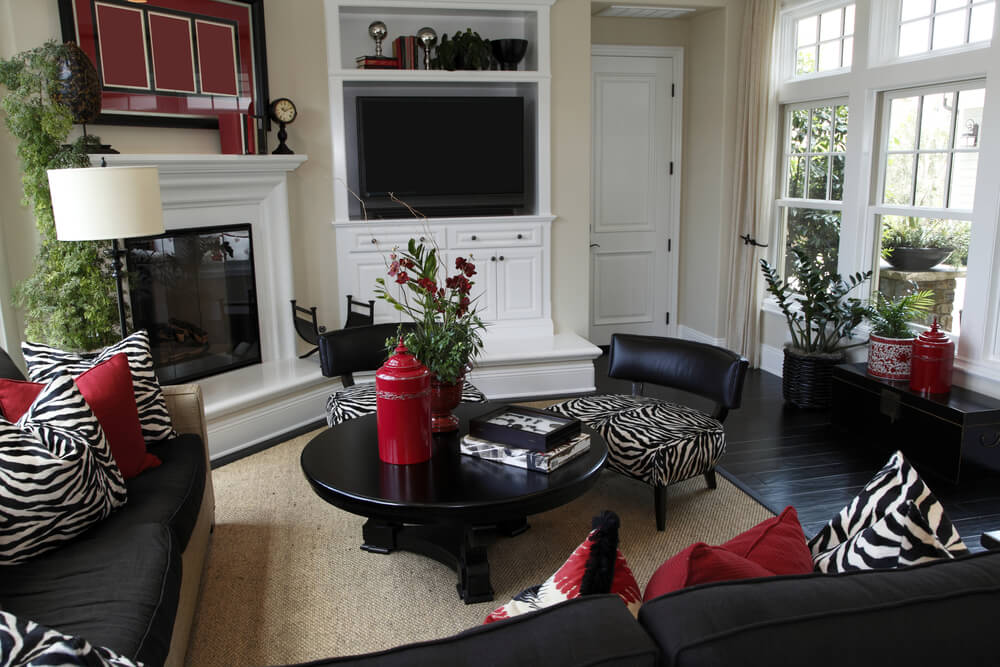 Living Room Decorating Ideas Red And Black Brown For Design