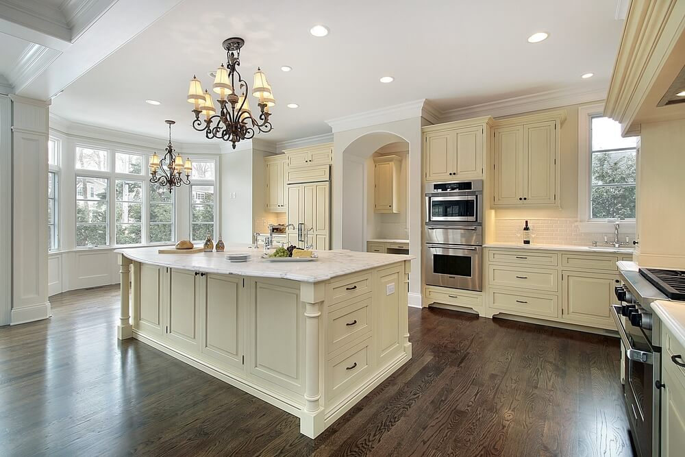 White or dark wood kitchen cabinets