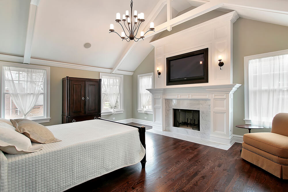 Master Bedroom In Luxury Home With Marble Fireplace Part 93
