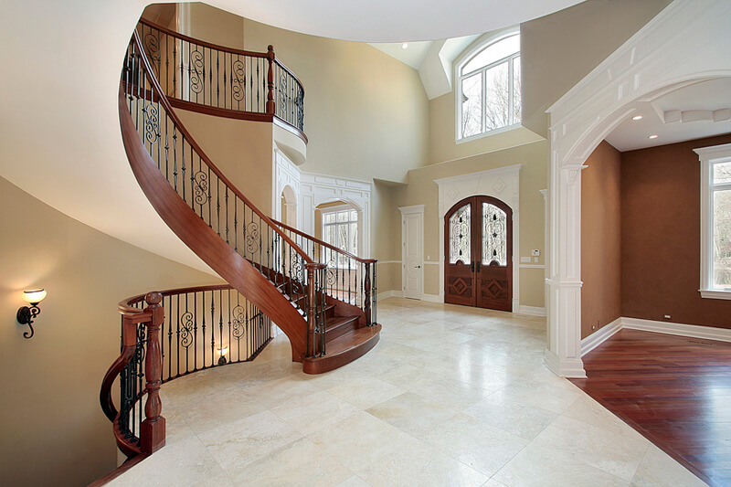 Foyer and staricase in suburban new construction home