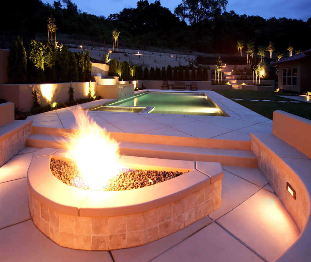fire pit next to pool - Pool Designs Ideas