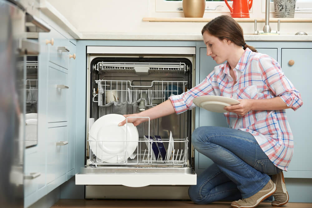 A pale blue finish on your cabinets and dishwasher makes your kitchen look clean and classy, but not boring.