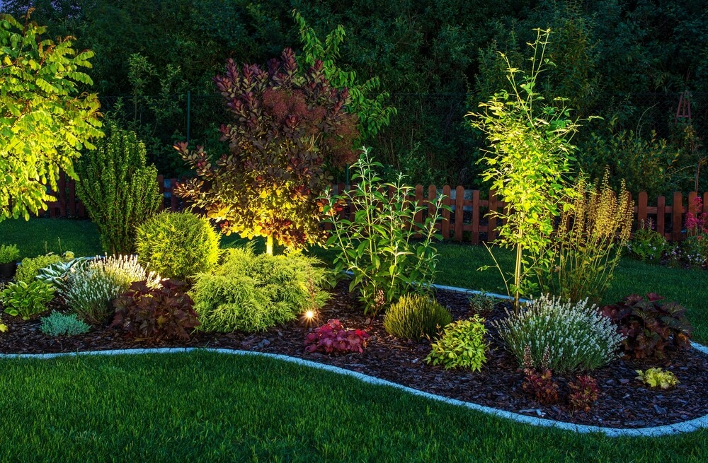 Lighting on the focal point of your landscape architecture design can have dramatic effect in the evening.