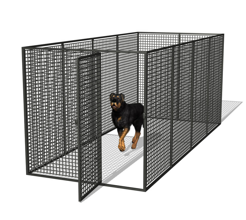 Use fencing materials to create a hybrid of a dog fence and a large kennel area.
