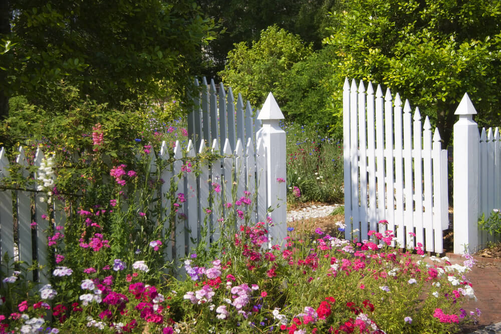 White garden fencing with double wide latch gate for easy access.
