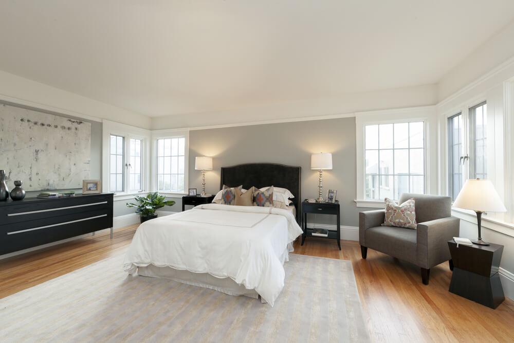 wood floor bedroom. shutterstock 218349907 32 Bedroom Flooring Ideas  Wood Floors