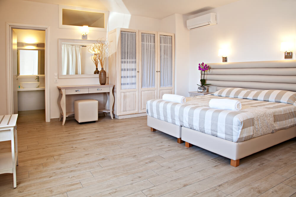 wood floor bedroom. shutterstock 269021732 32 Bedroom Flooring Ideas  Wood Floors