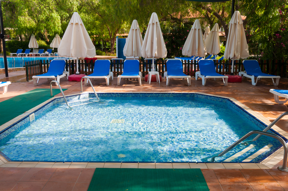 With this pool you get a somewhat square shape with flattened corners so everyone can easily relax but it's just large enough that you may be able to get a few strokes in across too.