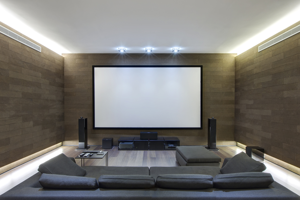Here we're a little simple, with the couch and the large screen with just a couple speakers. It's a simplistic room with a unique wall design, but it's definitely a nice design for anyone.