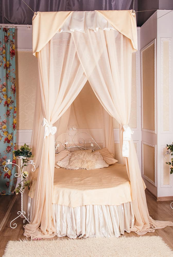 A traditional canopy bed