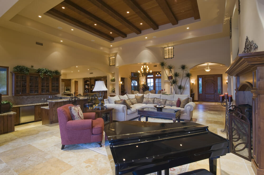 Grand Fireplace W Vaulted Ceilings Beams Open Floor: 42 Living Rooms With Exposed Ceiling Beams