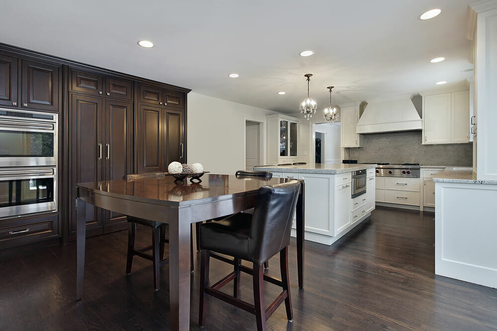 Kitchen Designs With Two Tone Cabinetsand White Floors
