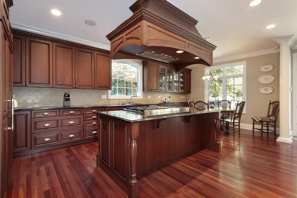 Elegant Matching Wood Floors to Cabinets
