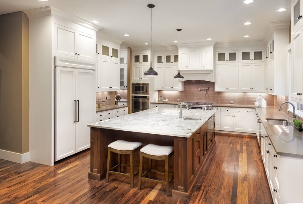 Coastal All Wood Kitchen Cabinets